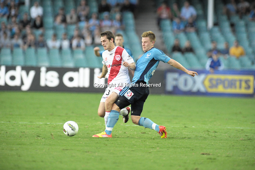 29.12.2011 Sydney, Australia.Melbourne Heart midfielder Mate Dugandic  in action during the A-League game between Sydney FC and Melbourne Heart played at the Sydney Football Stadium.