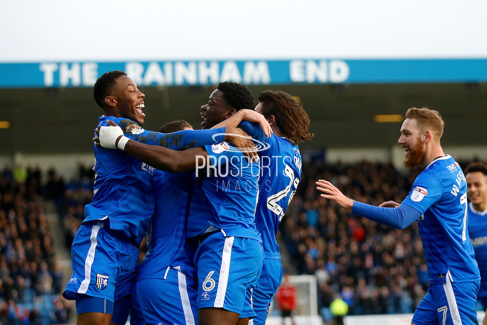 Gillingham players celebrate a goal from Gillingham FC defender Adedeji Oshilaja (6) during the EFL Sky Bet League 1 match between Gillingham and Shrewsbury Town at the MEMS Priestfield Stadium, Gillingham, England on 28 January 2017. Photo by Andy Walter.