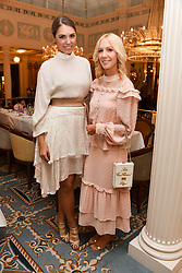 Left to right, Amber Le Bon and Megan Hess at an afternoon tea in honour of Megan Hess hosted by Lady Violet Manners at The Lanesborough, Hyde Park Corner, London, England. 10 November 2017.