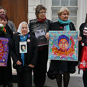 Helen Goodman Mp and Danielle Rowley and Nora Cortinas (old ladies) is from Argentina her son is a victim of disappearance 1979 join protest on the Day to remember the dead in Mexico of the disappearance student in Mexico and around the globe on 2nd November 2017 outside Embassy of Mexico, London, UK