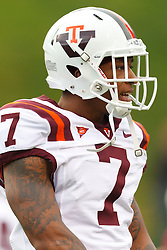 Nov 26, 2011; Charlottesville VA, USA;  Virginia Tech Hokies wide receiver Marcus Davis (7) warms up before the game against the Virginia Cavaliers at Scott Stadium.  Virginia Tech defeated Virginia 38-0. Mandatory Credit: Jason O. Watson-US PRESSWIRE