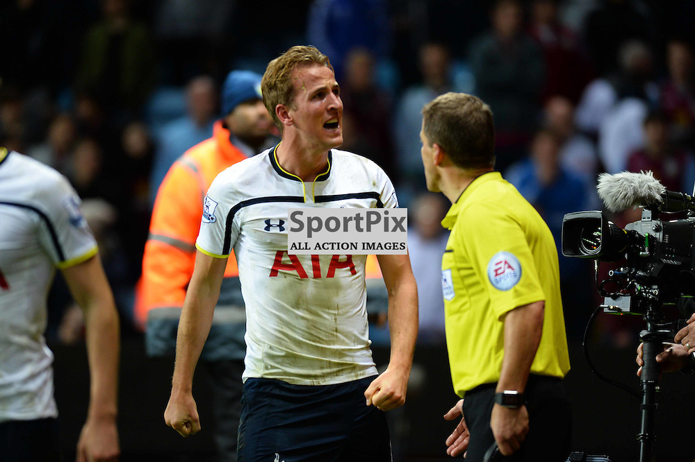 Harry Kane of Tottenham scores the winner in a 2-1 win over Aston Villa