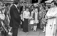 Funeral of 3 year old Michelle O'Connor, who died when a UDA/UFF booby trap bomb exploded when she was getting into the family car along with her father, John O'Connor, who received very serious injuries but survived. Michelle was being taken to nursery school. The incident took place on 13th June 1975. The funeral on 16th June 1975 was from the Holy Rosary Church on the Ormeau Road, Belfast, and was attended by hundreds of Protestants as well as Roman Catholics. No reason could be found for the attack other than sectarianism. 197506160497a<br /> <br /> Copyright Image from Victor Patterson, 54 Dorchester Park, Belfast, UK, BT9 6RJ<br /> <br /> t1: +44 28 9066 1296 (from Rep of Ireland 048 9066 1296)<br /> t2: +44 28 9002 2446 (from Rep of Ireland 048 9002 2446)<br /> m: +44 7802 353836<br /> <br /> victorpattersonbelfast@gmail.com<br /> victorpatterson@me.com<br /> <br /> www.victorpatterson.com<br /> <br /> Please see my Terms and Conditions of Use at victorpatterson.com. It is IMPORTANT that you familiarise yourself with them.<br /> <br /> Images used on the Internet incur an additional cost and must be visibly watermarked i.e. ©Victor Patterson within the body of the image and copyright metadata must not be deleted. Images used on the Internet have a size restriction of 4kbs and are chargeable at rates available at victorpatterson.com.<br /> <br /> This image is available only for the use of the download recipient i.e. television station, newspaper, magazine, book publisher, etc, and must not be passed on to any third party. It is also downloaded on condition that each and every usage is notified within 7 days to victorpatterson@me.com<br /> <br /> The right of Victor Patterson (or the named photographer) to be identified as the author is asserted in accordance with The Copyright Designs And Patents Act (1988). All moral rights are asserted.