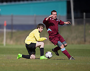 Charleston AFC (yellow) v Drybrugh CC (claret) in the George Mcarthur cup semi final, Dundee Saturday Morning Football at University Grounds, Riverside, Dundee, Photo: David Young<br /> <br />  - © David Young - www.davidyoungphoto.co.uk - email: davidyoungphoto@gmail.com
