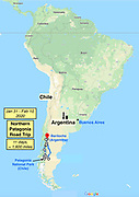 Argentina & Chile Patagonia map: road trip loop from Bariloche by three Dempseys from 31 January to 10 February 2020, driving 1600 miles in 11 days, visiting Patagonia National Park and other worthwhile sights.
