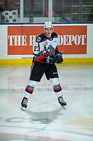 KELOWNA, BC - FEBRUARY 12: Jake Poole #23 of the Kelowna Rockets dangles the puck during warm up against the Tri-City Americans at Prospera Place on February 8, 2020 in Kelowna, Canada. (Photo by Marissa Baecker/Shoot the Breeze)
