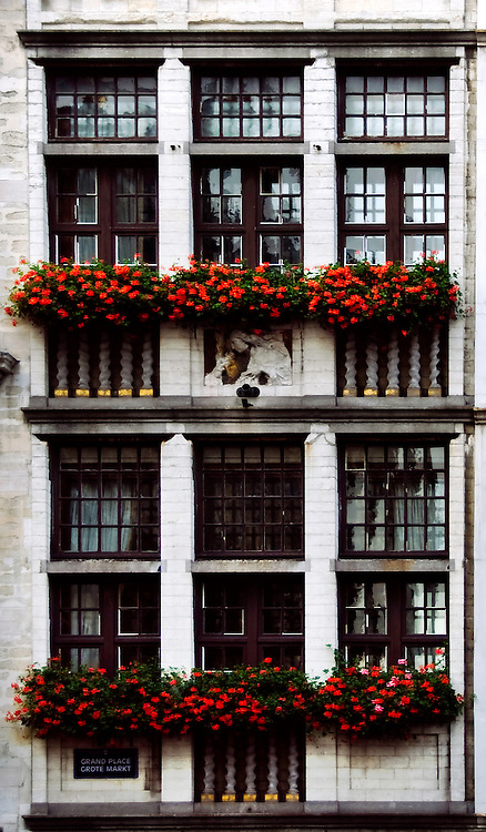 A guild house in Grand Place, Brussels, Belgium is decorated with red flowers.