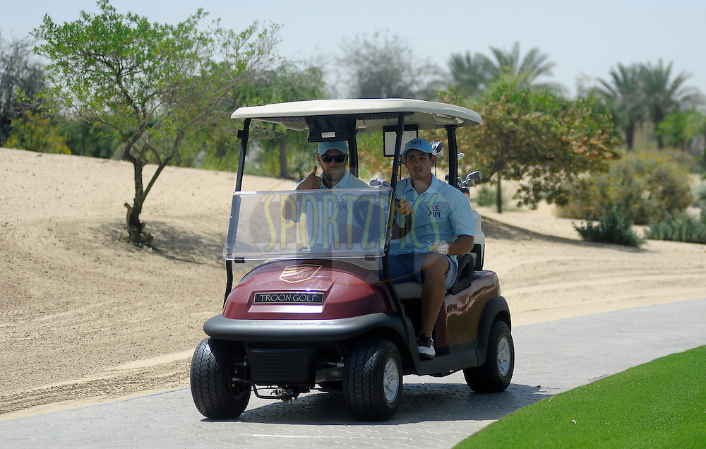 Aaron Finch and Quinton de Kock during the Pepsi Indian Premier League 2014 golf day held at the Ernie Els Club at Sports City , Dubai, United Arab Emirates on the 20th April 2014<br /> <br /> Photo by Pal Pillai  / IPL / SPORTZPICS