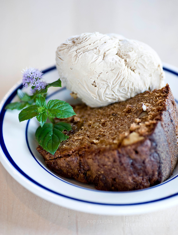 Fig cake served with coffee ice cream at Cafe Atlantic on Ocracoke.