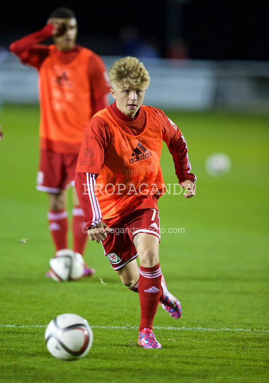 BANGOR, WALES - Friday, October 31, 2014: Wales' Keiron Proctor warms-up before the Under-16's Victory Shield International match against England at the Nantporth Stadium. (Pic by David Rawcliffe/Propaganda)