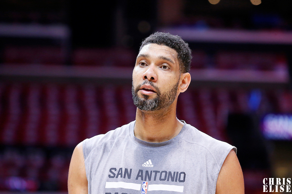 19 April 2014: San Antonio Spurs forward Tim Duncan (21) warms up prior to the Los Angeles Clippers 107-92 victory over the San Antonio Spurs, during Game One of the Western Conference Quarterfinals of the NBA Playoffs, at the Staples Center, Los Angeles, California, USA.