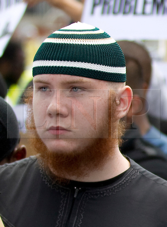 © Licensed to London News Pictures. FILE PICTURE DATED 30/07/2011.  London, UK. Muslim Convert, Jamal Uddin (formerly known as Jordan Horner)  taking part in a Muslims Against Crusaders march through Waltham Forest in East London. Jamal Uddin has been accused of enforcing Sharia Law on the streets of London at a court appearance. Photo credit : Joel Goodman/LNP
