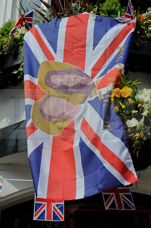 Brighton, UK. 29/04/2011. The Royal Wedding of HRH Prince William to Kate Middleton. Flag at the Cricketers Pub in Brighton. Photo credit should read: Peter Webb/LNP. Please see special instructions for licensing information. © under license to London News Pictures