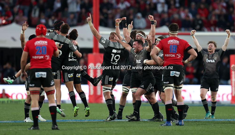 Crusaders players celebrates after the final whistle during 2017 Super Rugby Final match between Lions and Crusaders at Ellis Park Stadium, Johannesburg South Africa on 05 August 2017 ©Muzi Ntombela/BackpagePix / www.photosport.nz / www.photosport.nz