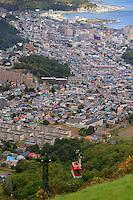 The Tenguyama ropeway with the city of Otaru in the background. Hokkaido, Japan.