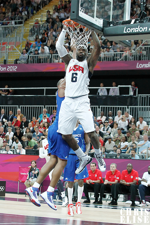 29 July 2012: USA LeBron James goes for the dunk during a 98-71 Team USA victory over Team France, during the men's basketball preliminary, at the Basketball Arena, in London, Great Britain.