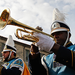 February 21, 2012; New Orleans, LA, USA; The Southern University of Baton Rouge band marches with the Krewe of Zulu march along the uptown New Orleans St. Charles Avenue parade route throwing beads, painted coconuts and various trinkets on Mardi Gras day. Mardi Gras is an annual celebration that ends at midnight with the start of the Catholic Lenten season which begins with Ash Wednesday and ends with Easter. Photo by: Derick E. Hingle