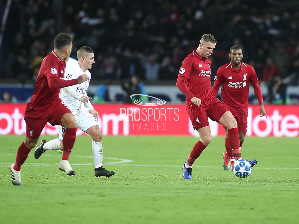 Jordan Henderson of Liverpool during the Champions League group stage match between Paris Saint-Germain and Liverpool at Parc des Princes, Paris, France on 28 November 2018.