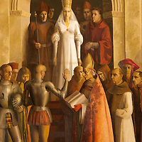 Detail from the mural of the coronation of Queen Isabella in the Gallery Room of the Alcazar