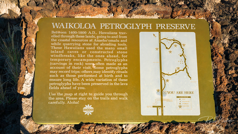 Interpretive sign at the Kings Trail and petroglyphs at Waikoloa, Kohala Coast, The Big Island, Hawaii USA