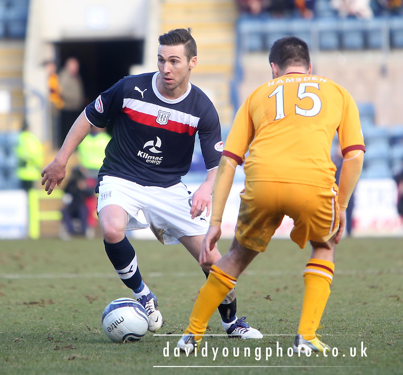 Carl Finnigan and Simon Ramsden - Dundee v Motherwell in the Clydesdale Bank Scottish Premier League at Dens Park.. - © David Young - www.davidyoungphoto.co.uk - email: davidyoungphoto@gmail.com