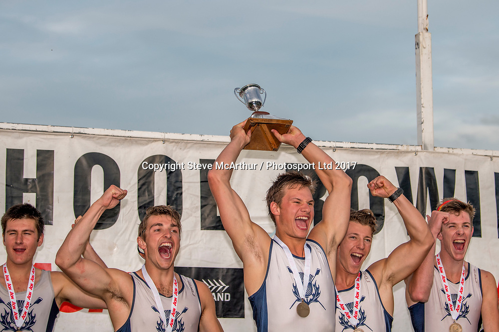 2017 Maadi Cup Winners St Andrews College U18 eight crew of Ben Taylor (stroke), Zackary Rumble, Thomas Russel, Mitchell White, Sam Paterson, Oliver Bailey, Flynn Dijkstra, Hamish Veitch + Tom Flavill (cox) Saturday finals at the 2017 Aon Maadi Cup regatta 1 April 2017 © Copyright photo: Steve McArthur / www.photosport.nz