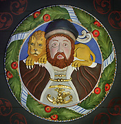King Henry VIII, 1491-1547, with a lion on his shoulders, 1 of the 37 carved and painted Stirling Heads on the ceiling of the King's Inner Hall, used for audiences with ambassadors, courtiers and nobles, in Stirling Castle, with current buildings dating to 15th and 16th centuries, on Castle Hill, in Stirling, Scotland. The heads depict both real and legendary figures. The castle is listed as a scheduled ancient monument and is run by Historic Environment Scotland. Picture by Manuel Cohen