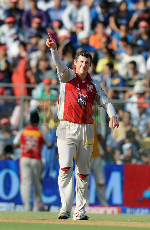David Hussey of Kings XI Punjab sets the field during match 28 of the Indian Premier League ( IPL) 2012  between The Mumbai Indians and the Kings X1 Punjab held at the Wankhede Stadium in Mumbai on the 22nd April 2012..Photo by Pal Pillai/IPL/SPORTZPICS.