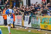 Bristol Rovers Matt Taylor celebrates in front of the fans during the Sky Bet League 2 match between Bristol Rovers and Exeter City at the Memorial Stadium, Bristol, England on 23 April 2016. Photo by Shane Healey.