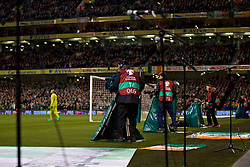 DUBLIN, REPUBLIC OF IRELAND - Friday, March 24, 2017: Microphones and television cameras block the view of the goal during the 2018 FIFA World Cup Qualifying Group D match between Republic of Ireland and Wales at the Aviva Stadium. (Pic by David Rawcliffe/Propaganda)