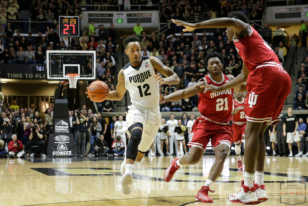 Purdue forward Vince Edwards (12) in action as Purdue played Indiana in an NCCA college basketball game in West Lafayette, Ind., Tuesday, Feb. 28, 2017. (Photo by AJ Mast)