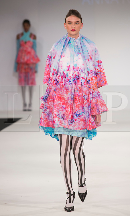 © Licensed to London News Pictures. 31/05/2015. London, UK. Collection by Anna Roditi. Fashion show of the University of East London (UEL) at Graduate Fashion Week 2015. Graduate Fashion Week takes place from 30 May to 2 June 2015 at the Old Truman Brewery, Brick Lane. Photo credit : Bettina Strenske/LNP