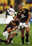 Wellington's Neemia Tialata (right) and Victor Vito after the one-point victory.<br /> Air NZ Cup Ranfurly Shield match - Wellington Lions v Auckland at Westpac Stadium, Wellington, New Zealand. Saturday, 22 August 2009. Photo: Dave Lintott/PHOTOSPORT