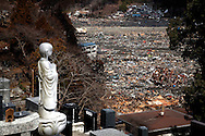 Tsunami and earthquake damage is seen in a residential area in Otsuchi, Japan after the town was hit on 11 March 2011.