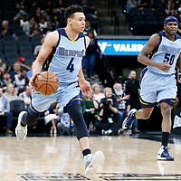 04 April 2017: Memphis Grizzlies guard Wade Baldwin IV (4) brings the ball up court next to Memphis Grizzlies forward Zach Randolph (50) during the San Antonio Spurs 95-89 OT victory over the Memphis Grizzlies, at the AT&T Center, San Antonio, Texas, USA.