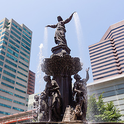 Photo of Cincinnati fountain by Tyler Davidson named The Genius of Water . Located in Fountain Square in downtown Cincinnati, Ohio, the statue is one of the city's most popular attractions.