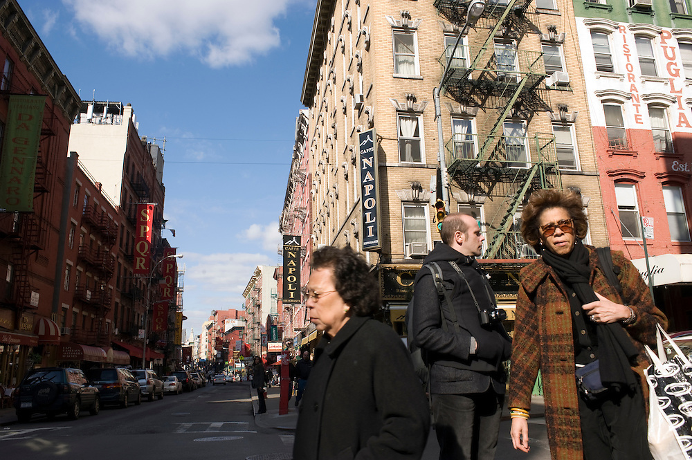 Little Italy Manhattan New York Mullberry Street Caffee Napoli..According to the last US census there are no first generation Italians living in Little Italy anymore. Still for New Yorkers this is as authentic as Italy gets. ..
