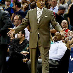 Dec 13, 2016; New Orleans, LA, USA;  New Orleans Pelicans head coach Alvin Gentry reacts to official during the fourth quarter of a game against the Golden State Warriors at the Smoothie King Center. The Warriors defeated the Pelicans 113-109. Mandatory Credit: Derick E. Hingle-USA TODAY Sports