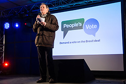 London, UK. 15th January, 2019. Actor Kevin Whately addresses pro-EU activists attending a People's Vote rally in Parliament Square as MPs vote in the House of Commons on Prime Minister Theresa May's proposed final Brexit withdrawal agreement.