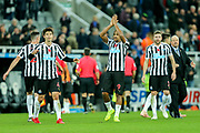 Jose Salomon Rondon (#9) of Newcastle United, and Ki Sung-Yueng (#4) of Newcastle United celebrate Newcastle United's victory (2-1) following the Premier League match between Newcastle United and Bournemouth at St. James's Park, Newcastle, England on 10 November 2018.
