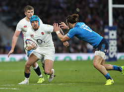 26 February 2017 : 6 Nations Rugby : England v Italy :<br /> Jack Nowell of England makes a break and is tackled by Michele Campagnaro.<br /> Photo: Mark Leech