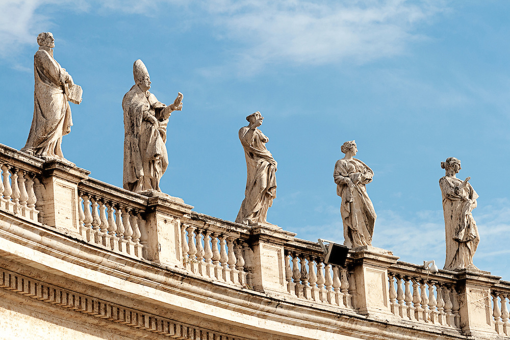 Statues above St Peter's Square, Rome Italy