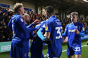 AFC Wimbledon attacker Marcus Forss (15) celebrating after scoring goal to make it 1-1 during the EFL Sky Bet League 1 match between AFC Wimbledon and Doncaster Rovers at the Cherry Red Records Stadium, Kingston, England on 14 December 2019.