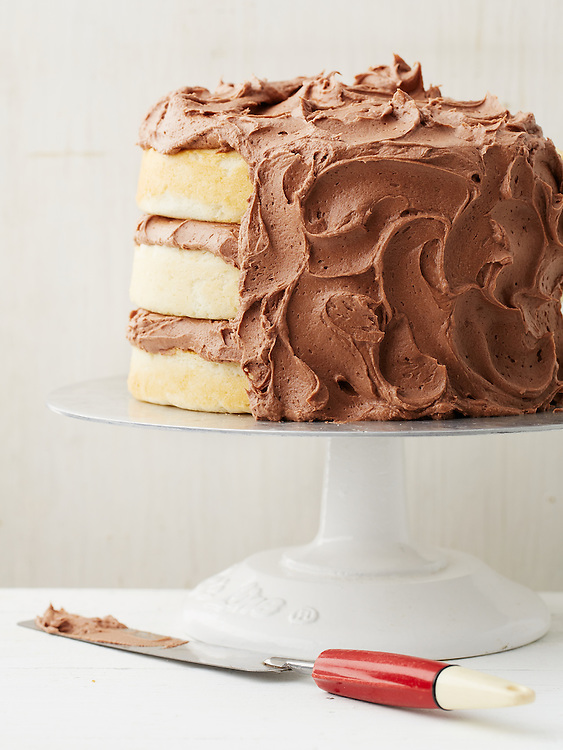 Basic White Cake with Milk Chocolate Frosting