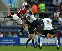 Photo: Paul Thomas.<br /> Preston North End v Manchester United. Pre Season Friendly. 29/07/2006.<br /> <br /> Guiseppe Rossi of Man Utd (L) and  Jason Jarrett get caught in mid-air.