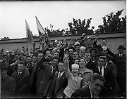 05/06/1955<br /> 06/05/1955<br /> 05 June 1955<br /> F.A.I. Minor Cup Final, Tower Rovers v Drumcondra at Whitehall, Dublin. Some of the Tower supporters.