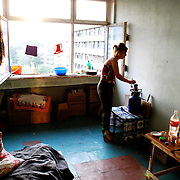Georgian displaced at the improvised refugee camp in Zakvo building, Tbilisi.