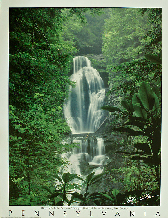 "Poster of Dingman's Falls at Delaware Water Gap National Recreation Area, Pike County. White border with ""Pennsylvania"" at bottom with space for frame."