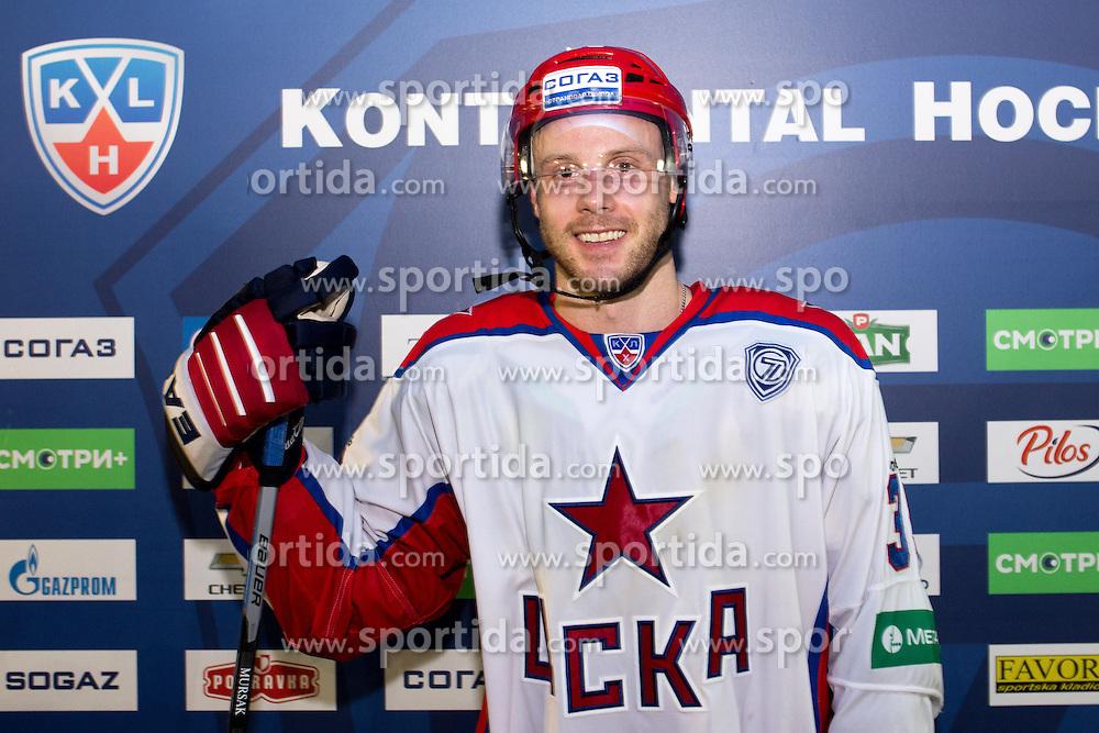 Jan Mursak of CSKA Moscow after KHL League ice hockey match between KHL Medvescak Zagreb and CSKA Moscow, on September 18, 2014 in Dvorana Sportova, Zagreb, Croatia. (Photo By Matic Klansek Velej / Sportida)