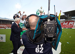 WREXHAM, WALES - Monday, May 2, 2016: A television camera blocks the trophy presentation of The New Saints after the 2-0 victory over Airbus UK Broughton during the 129th Welsh Cup Final at the Racecourse Ground. (Pic by David Rawcliffe/Propaganda)